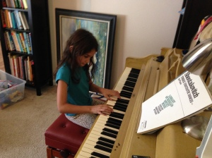 Ruth practicing piano