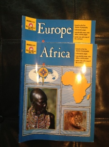 $8 for both or $5 each: Evan-Moor Geography Theme Books: Africa and Europe; based on the five themes of geography, information pages, reproducible maps, note takers, activity pages, and poster-size color map of the continent.